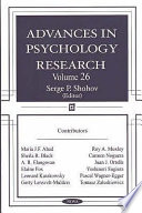 Advances in Psychology Research  Volume 26 Book