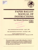 Paper Ballot Manual of Instructions for Illinois Election Judges