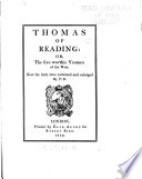 Thomas Of Reading Or The Six Worthie Yeomen Of The West