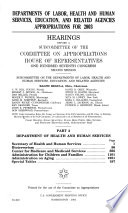 Departments Of Labor, Health And Human Services, Education, And Related..., Hearings... Part 2... Committee On Appropriations, House Of Representatives... 107th Congress, 2nd Session