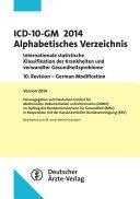 ICD 10 Alphabetisches Verzeichnis 2014