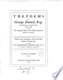 The poems of George Daniel, ed. with intr., notes, by A.B. Grosart