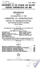 107 2 Hearings Department Of The Interior And Related Agencies Appropriations For 2003 Part 5 April 18 2002