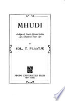 Mhudi, an Epic of South African Native Life a Hundred Years Ago