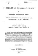 A Homiletic Encyclopaedia of Illustrations in Theology and Morals. ...