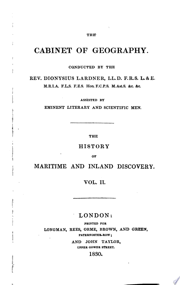 The history of maritime and inland discovery   by W D  Cooley