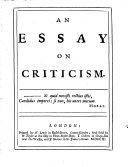 An Essay on Criticism ...