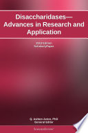 Disaccharidases   Advances in Research and Application  2012 Edition