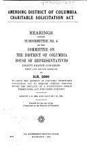 Hearings  Reports and Prints of the House Committee on the District of Columbia