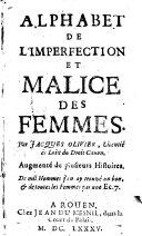 Alphabet de l'imperfection et malice des femmes, augmente de plusieurs histoires