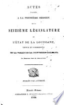 Actes Pass S La Session De La L Gislature De L Tat De La Louisiane