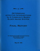 Determining Effective Interventions in a Community based Elder Abuse System