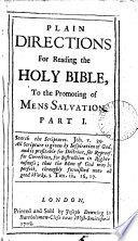 Plain Directions for Reading the Holy Bible
