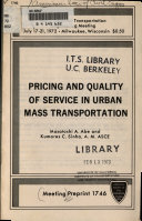 Pricing and Quality of Service in Urban Mass Transportation Book