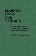 Learning from Our Mistakes Book