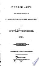 Public Acts Passed at the General Assembly of the State of Tennessee