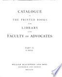 Catalogue Of The Printed Books In The Library Of The Faculty Of Advocates A Byzantium 1867