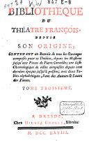 Bibliothèque du thé^atre françois depuis son origine;