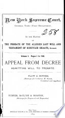 In the Matter of the Probate of the Alleged Last Will and Testament of Scuyler Skaats  Deceased Book