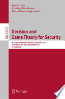 Decision and Game Theory for Security Book