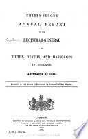 Annual Report of Births, Deaths, and Marriages in England and Wales