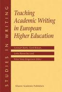 Teaching Academic Writing in European Higher Education