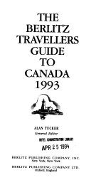 The Berlitz Travellers Guide to Canada