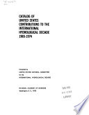 Catalog Of United States Contributions To The International Hydrological Decade 1965 1974