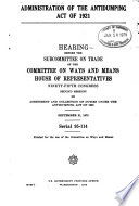 Administration of the Antidumping Act of 1921