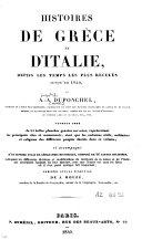 Histoires de Grèce et d'Italie, depuis les temps les plus reculés jusqu'en 1840
