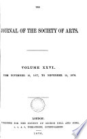 JOURNAL OF THE SOCIETY OF ARTS  Book