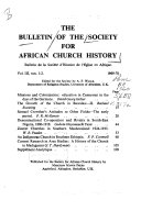 The Bulletin of the Society for African Church History