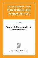 Zeitschrift für historische Forschung: Beiheft