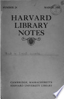 Harvard Library Notes