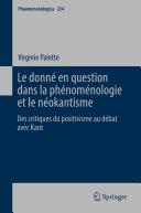 Pdf Le donné en question dans la phénoménologie et le néokantisme Telecharger