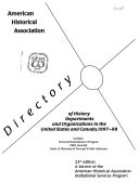 Directory Of History Departments And Organizations In The United States And Canada