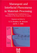 Marangoni and Interfacial Phenomena in Materials Procesessing