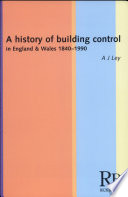 A History Of Building Control In England And Wales 1840 1990 Book PDF