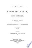 History of Windham County  Connecticut  1760 1880