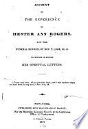 An account of the experience of Hester Ann Rogers : and her funeral sermon /