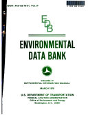 Environmental Data Bank  Supplemental information manual
