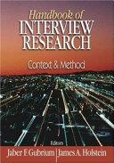 Handbook of Interview Research