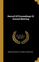 Record Of Proceedings Of Annual Meeting