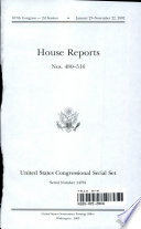 United States Congressional Serial Set, Serial No. 14781, House Reports Nos. 480-516