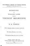 Memoirs of William Lamb  Second Viscount Melbourne