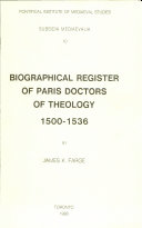 Biographical Register of Paris Doctors of Theology, 1500-1536