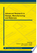 Advanced Research In Design Manufacturing And Materials Book PDF