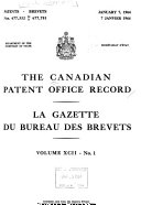 The Canadian Patent Office Record and Register of Copyrights and Trade Marks ebook
