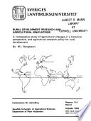 Rural development research and agricultural innovations