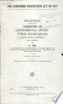 The Consumer Protection Act of 1977 Book
